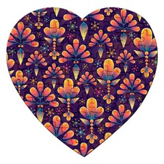 Floral Abstract Purple Pattern Jigsaw Puzzle (heart) by paulaoliveiradesign
