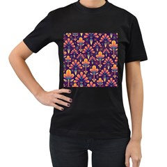 Floral Abstract Purple Pattern Women s T Shirt (black)