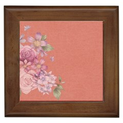 Flower Illustration Rose Floral Pattern Framed Tiles by paulaoliveiradesign