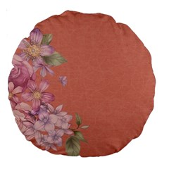 Flower Illustration Rose Floral Pattern Large 18  Premium Round Cushions by paulaoliveiradesign