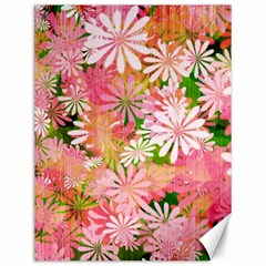 Pink Flowers Floral Pattern Canvas 12  X 16   by paulaoliveiradesign