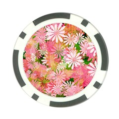 Pink Flowers Floral Pattern Poker Chip Card Guard (10 Pack) by paulaoliveiradesign