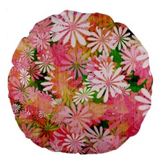 Pink Flowers Floral Pattern Large 18  Premium Round Cushions by paulaoliveiradesign