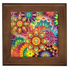 Colorful Abstract Pattern Kaleidoscope Framed Tiles by paulaoliveiradesign