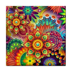 Colorful Abstract Pattern Kaleidoscope Face Towel by paulaoliveiradesign