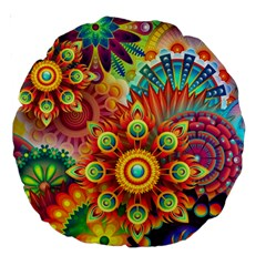 Colorful Abstract Pattern Kaleidoscope Large 18  Premium Round Cushions by paulaoliveiradesign