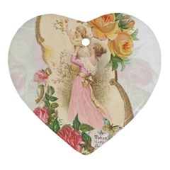 Vintage Floral Illustration Ornament (heart) by paulaoliveiradesign