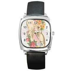 Vintage Floral Illustration Square Metal Watch by paulaoliveiradesign