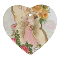 Vintage Floral Illustration Heart Ornament (two Sides) by paulaoliveiradesign