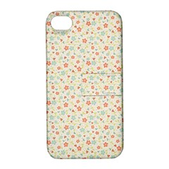 Colorful Pink Floral Cute Pattern Apple Iphone 4/4s Hardshell Case With Stand by paulaoliveiradesign