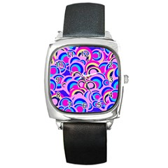 Retro Pattern 1973b Square Metal Watch by MoreColorsinLife