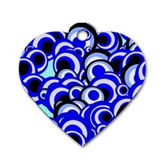 Retro Pattern 1973e Dog Tag Heart (one Side) by MoreColorsinLife