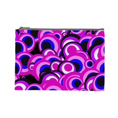 Retro Pattern 1973d Cosmetic Bag (large)  by MoreColorsinLife