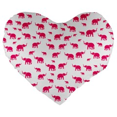 Elephant Pattern Large 19  Premium Heart Shape Cushions by stockimagefolio1