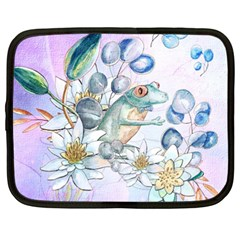 Funny, Cute Frog With Waterlily And Leaves Netbook Case (xxl)  by FantasyWorld7