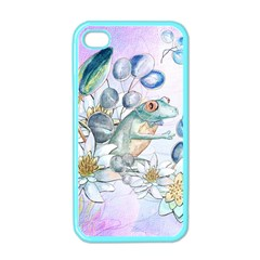 Funny, Cute Frog With Waterlily And Leaves Apple Iphone 4 Case (color) by FantasyWorld7