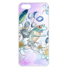 Funny, Cute Frog With Waterlily And Leaves Apple Iphone 5 Seamless Case (white) by FantasyWorld7