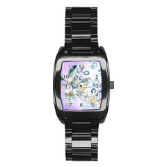 Funny, Cute Frog With Waterlily And Leaves Stainless Steel Barrel Watch by FantasyWorld7