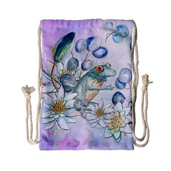 Funny, Cute Frog With Waterlily And Leaves Drawstring Bag (small) by FantasyWorld7