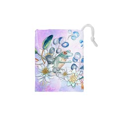 Funny, Cute Frog With Waterlily And Leaves Drawstring Pouches (xs)  by FantasyWorld7