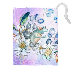 Funny, Cute Frog With Waterlily And Leaves Drawstring Pouches (xxl) by FantasyWorld7
