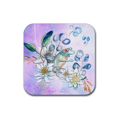Funny, Cute Frog With Waterlily And Leaves Rubber Square Coaster (4 Pack)  by FantasyWorld7