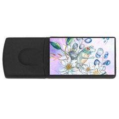 Funny, Cute Frog With Waterlily And Leaves Rectangular Usb Flash Drive by FantasyWorld7
