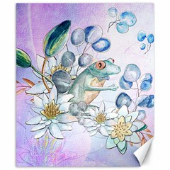 Funny, Cute Frog With Waterlily And Leaves Canvas 8  X 10  by FantasyWorld7