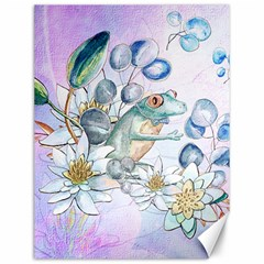 Funny, Cute Frog With Waterlily And Leaves Canvas 12  X 16   by FantasyWorld7