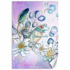 Funny, Cute Frog With Waterlily And Leaves Canvas 12  X 18   by FantasyWorld7