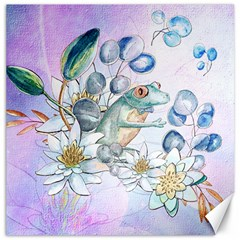 Funny, Cute Frog With Waterlily And Leaves Canvas 16  X 16   by FantasyWorld7