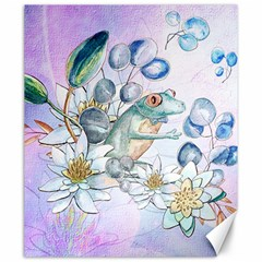 Funny, Cute Frog With Waterlily And Leaves Canvas 20  X 24   by FantasyWorld7