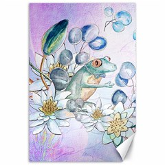 Funny, Cute Frog With Waterlily And Leaves Canvas 24  X 36  by FantasyWorld7