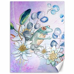 Funny, Cute Frog With Waterlily And Leaves Canvas 36  X 48   by FantasyWorld7