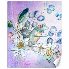Funny, Cute Frog With Waterlily And Leaves Canvas 11  X 14   by FantasyWorld7