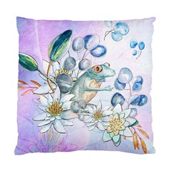 Funny, Cute Frog With Waterlily And Leaves Standard Cushion Case (two Sides) by FantasyWorld7