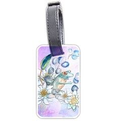 Funny, Cute Frog With Waterlily And Leaves Luggage Tags (one Side)  by FantasyWorld7