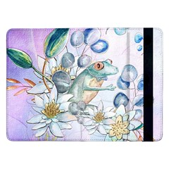 Funny, Cute Frog With Waterlily And Leaves Samsung Galaxy Tab Pro 12 2  Flip Case by FantasyWorld7