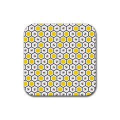 Bee Pattern Rubber Coaster (square)  by stockimagefolio1