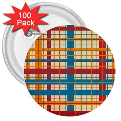 Plaid Pattern 3  Buttons (100 Pack)  by linceazul