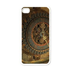 Steampunk, Awesoeme Clock, Rusty Metal Apple Iphone 4 Case (white) by FantasyWorld7