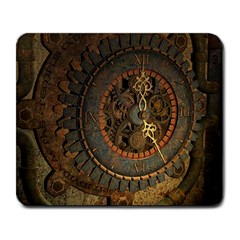 Steampunk, Awesoeme Clock, Rusty Metal Large Mousepads by FantasyWorld7