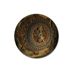 Steampunk, Awesoeme Clock, Rusty Metal Magnet 3  (round) by FantasyWorld7