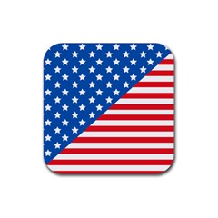 Usa Flag Rubber Square Coaster (4 Pack)