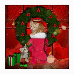 Christmas, Funny Kitten With Gifts Medium Glasses Cloth (2 Side) by FantasyWorld7