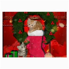 Christmas, Funny Kitten With Gifts Large Glasses Cloth by FantasyWorld7