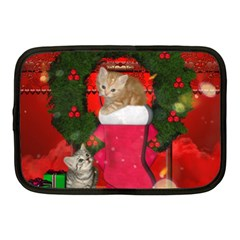 Christmas, Funny Kitten With Gifts Netbook Case (medium)  by FantasyWorld7