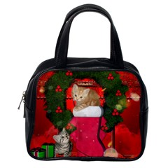 Christmas, Funny Kitten With Gifts Classic Handbags (one Side) by FantasyWorld7