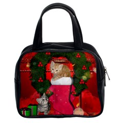 Christmas, Funny Kitten With Gifts Classic Handbags (2 Sides) by FantasyWorld7