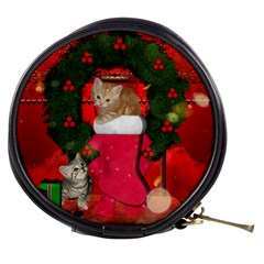 Christmas, Funny Kitten With Gifts Mini Makeup Bags by FantasyWorld7